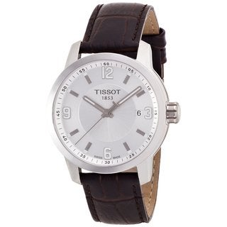 Tissot Men's 'PRC 200' Brown Leather Strap Analog Watch