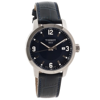 Tissot Men's T0554101604700 'PRC 200' Blue Leather Strap Analog Watch