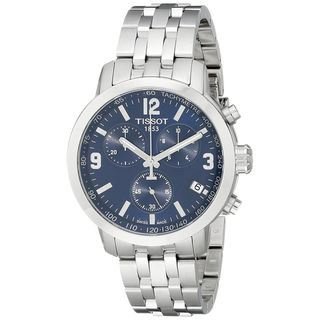 Link to Tissot Men's 'PRC 200' Blue Dial Stainless Steel Chronograph Watch Similar Items in Men's Watches