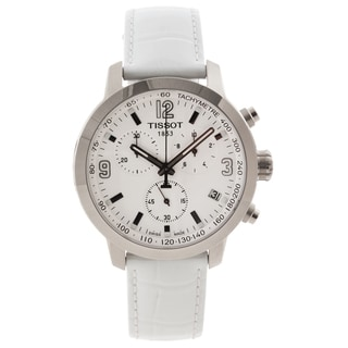 Tissot Men's 'PRC 200' White Leather Strap Chronograph Watch