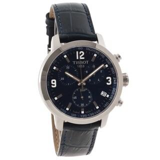 Tissot Men's 'PRC 200' Blue Leather Strap Chronograph Watch