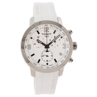 Tissot Men's T0554171701700 'PRC 200' White Rubber Strap Chronograph Sport Watch