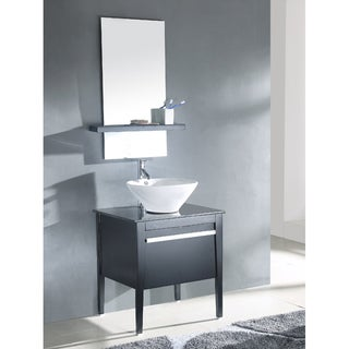 Single Vessel Wood Top Sink with Matching Mirror Bathroom Vanity