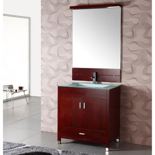 Single Sink Tempered Glass Top with Matching Mirror Bathroom Vanity