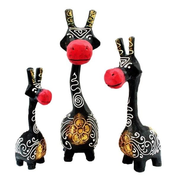 Set of 3 Handmade Black and Red Giraffe Statues (Indonesia)