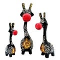 Set of 3 Handmade Black and Red Giraffe Statues (Indonesia)