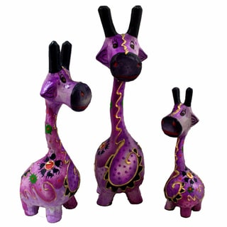 Handmade Purple Giraffe Statue, Set of 3 (Indonesia)