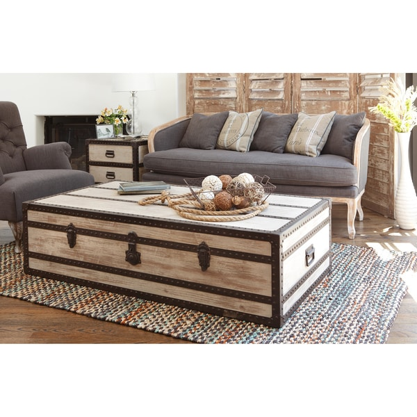 Shop Kosas Home Vennie Distressed Pine Wood Coffee Table