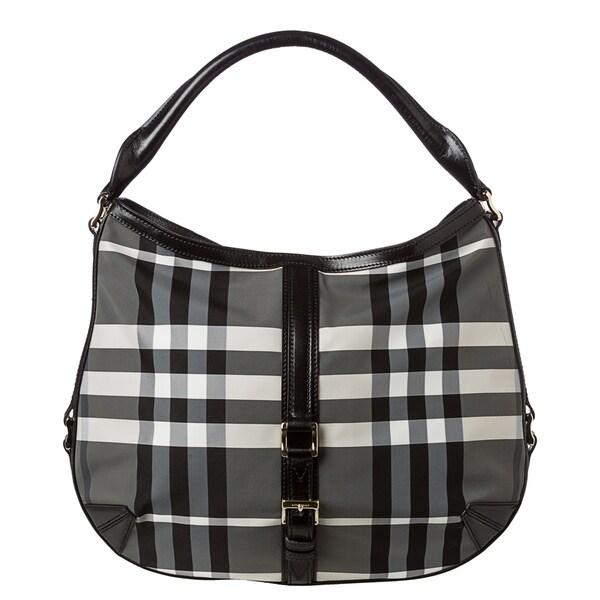 Burberry 'Grafton' Medium Charcoal Beat Check Hobo Bag