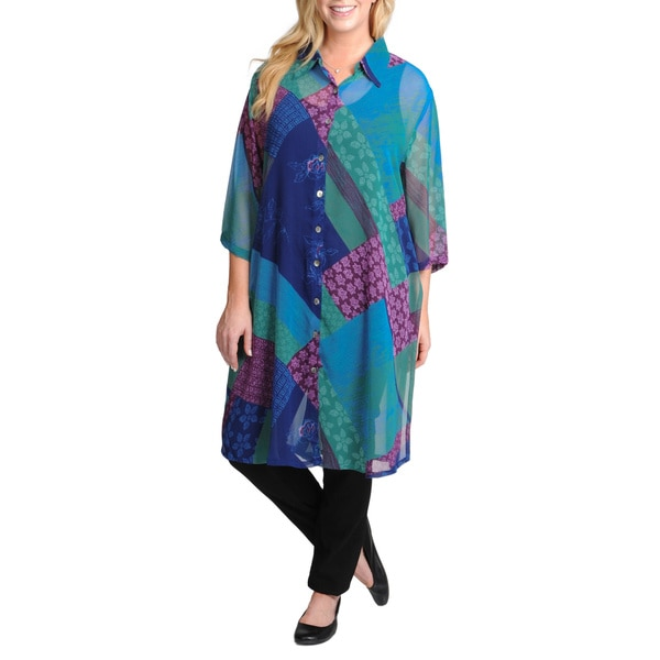 La Cera Women's Plus Size Short Sleeve Sheer Floral Printed Duster 11028489