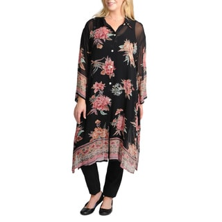 La Cera Women's Plus Size 3/4 Sleeve Sheer Floral Printed Duster