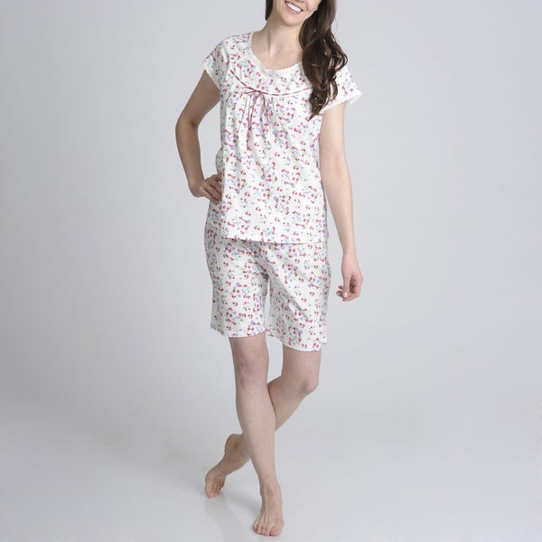 La Cera Women's Floral Printed Short Sleeve Pajama Short Set