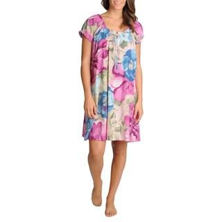 La Cera Women's Mauve Floral Printed Short Sleeve Chemise