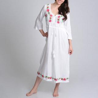 La Cera Women's Cross Stitch Embroidered V-Neck Gown