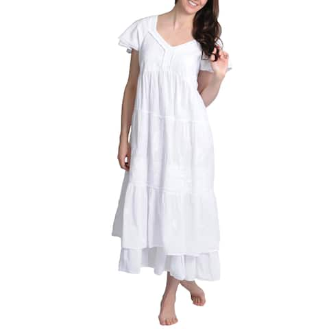 La Cera Women's Embroidered Layered Short Sleeve Tiered Gown