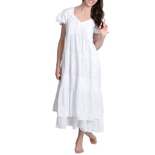 La Cera Women's White Cotton/Lace Embroidered Layered Short-sleeve Tiered Gown