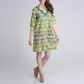 La Cera Women's Floral Printed Jewel Neck with Notched V Embroidered Casual Dress