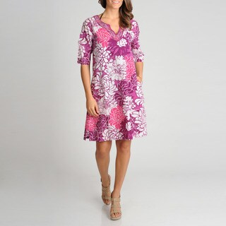 La Cera Women's Floral Printed Embroidered Cover Up (4 options available)