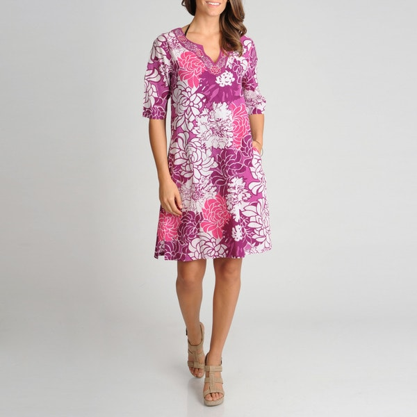 La Cera Women's Floral Printed Embroidered Cover Up
