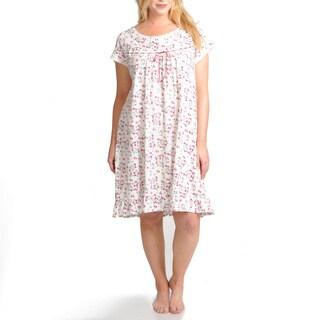 La Cera Women's Plus Size Floral Printed Cotton Chemise