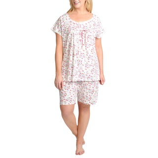 La Cera Women's Plus Size 2-piece Floral Printed Pajama Set