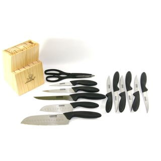 Masterchef Cutlery 13-piece Eversharp Ergonomically Handled Kitchen Knife Set with Two 7, and 5-inch Santoku Chef Style Knives