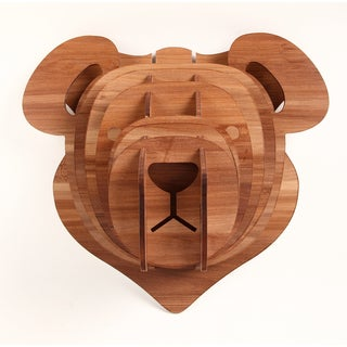3D Faux Teddy Bear Head Sculpture