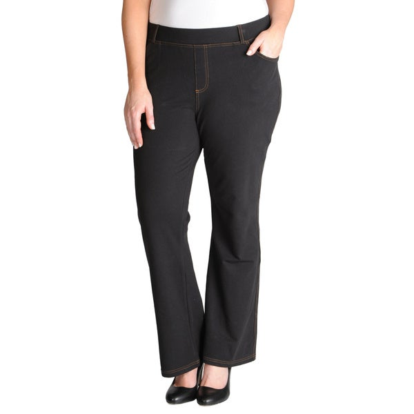 La Cera Women's Plus Size Stretch Boot Cut Pants