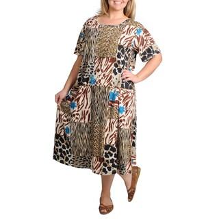La Cera Women's Plus Size Short Sleeve Animal Printed Dress