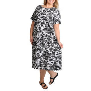 La Cera Women's Plus Size Short Sleeve Floral Printed Dress