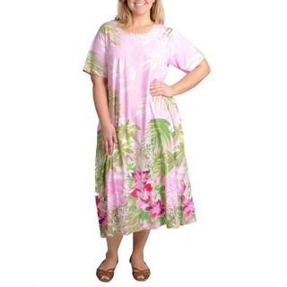 La Cera Women's Plus Size Pink Tropical Print Casual Dress