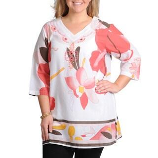 La Cera Women's Plus Size White Floral Print Beaded Neck Top