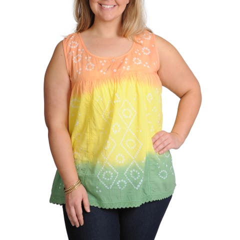 La Cera Women's Plus Size Tie-dye Sleeveless Henley Top