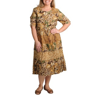 La Cera Women's Plus Short Sleeve Animal Print Tiered Dress