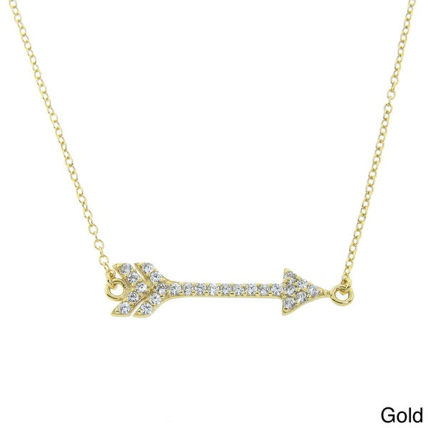 Eternally Haute Gold over Sterling Silver CZ Sideways Cupid's Arrow Necklace. Opens flyout.