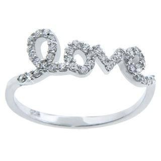 Eternally Haute Sterling Silver Cubic Zirconia 'Love' Ring
