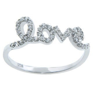 Eternally Haute Sterling Silver Cubic Zirconia 'Love' Ring (3 options available)