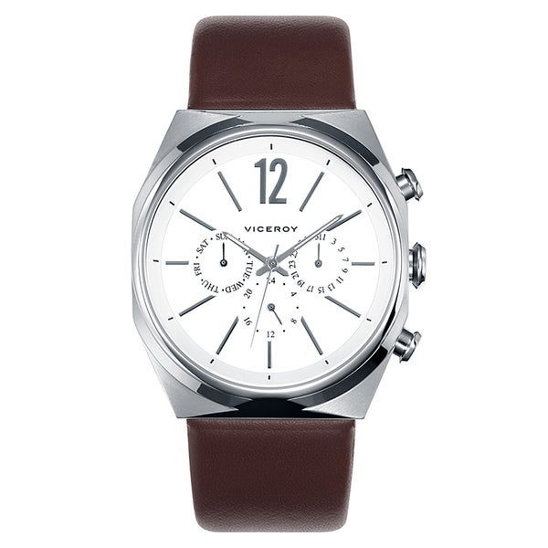 Viceroy Spain Men's Multi-function Brown Leather Strap Watch