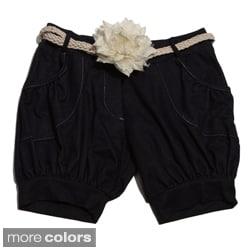Paulinie Collection Girls Flower Belt Shorts