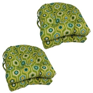 Blazing Needles Tropical/ Stripe U-shaped 16-inch Outdoor Chair Cushions (Set of 4)