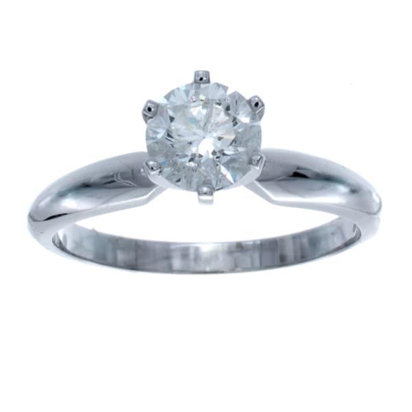 14k White Gold 3/4ct TDW Certified Diamond Engagement Ring (I-J, SI1-SI2)
