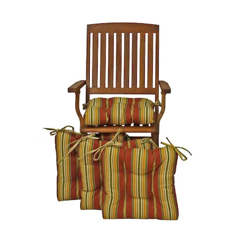 """Blazing Needles 16-inch Square Tufted Outdoor Chair Cushions (Set of 4) - 16"""" x 16"""""""