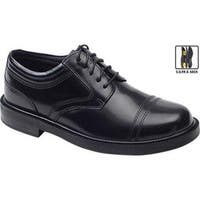 Deer Stags Men's Telegraph Smooth Black Leather Cap-toe Shoes