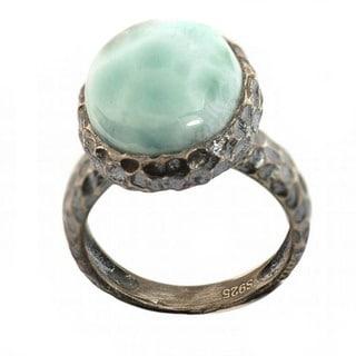 De Buman Sterling Silver Larimar Antiqued Ring