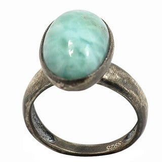 De Buman Sterling Silver Blue Larimar Antiqued-finish Ring