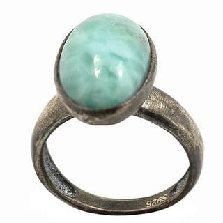 De Buman Sterling Silver Blue Larimar Antiqued-finish Ring