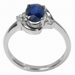 De Buman Sterling Silver Sapphire and Cubic Zirconia Ring