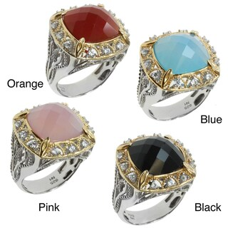 Michael Valitutti Two-tone Chalcedony and Cubic Zirconia Ring