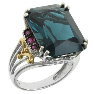 Michael Valitutti Two-tone London Blue Topaz and Pink Sapphire Ring