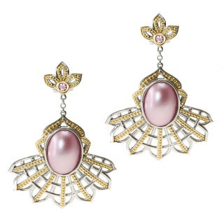 Michael Valitutti/ Jason Two-tone Mabe Pearl and Tourmaline Earrings (12-16 mm)